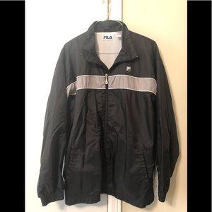 Fila black windbreaker zip front xl